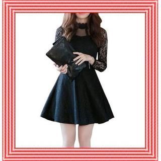 ミニ丈ワンピースチュニック 着痩せ 膝丈 ドレス  【M・L・XL】(その他ドレス)