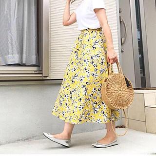 GU - ジーユー GU gu フレア ロングスカート ロング スカート フラワー 花柄