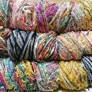 1セット限定☆引き揃え糸 玉巻き もりもりド派手セット☆毛糸 編み糸(生地/糸)
