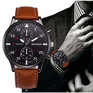 【送料無料・翌日配送!!】新品 ブランド クロノ アナログ腕時計 黒 ブラウン(腕時計(アナログ))