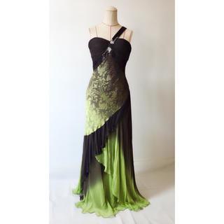 タダシショウジ(TADASHI SHOJI)のモスグリーン×ブラック ボタニカルドレス(ロングドレス)
