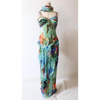 タダシショウジ(TADASHI SHOJI)の水色系 柄物ドレス(ロングドレス)