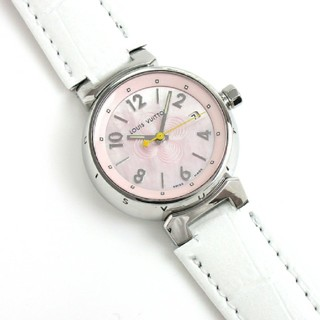 ルイヴィトン(LOUIS VUITTON)のルイヴィトン タンブール Q1216  ピンクシェル文字盤 レディース (腕時計)