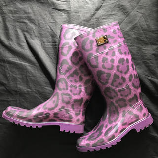 ドルチェアンドガッバーナ(DOLCE&GABBANA)のドルチェアンドガッパーナ レインブーツ レオパ 紫 24cm 濡れない お洒落(レインブーツ/長靴)