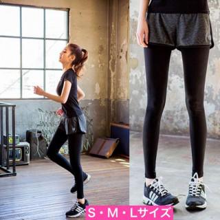 ★SALE & SALE★レギンスショートパンツ付きトレーニングウェア スポーツ(レギンス/スパッツ)