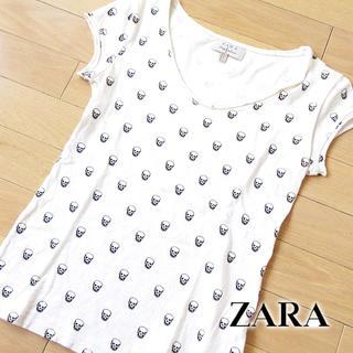 ザラ(ZARA)の美品 S(USA) ZARA ザラ レディース スカル柄 Tシャツ ホワイト(Tシャツ(半袖/袖なし))