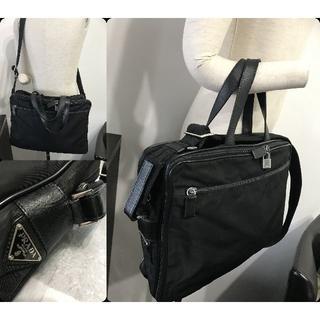 プラダ(PRADA)の18万プラダサフィアーノ革レザー多ビジネスバッグVシリーズ黒ブリーフケース良好(ビジネスバッグ)
