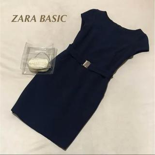 ザラ(ZARA)のZARA BASIC made in morocco ストレッチタイトワンピ S(ひざ丈ワンピース)