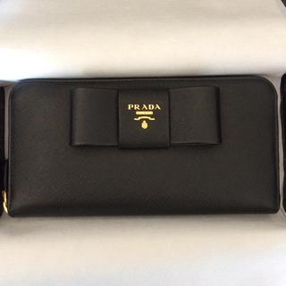 プラダ(PRADA)の新品未使用 プラダ リボン長財布ラウンドジップ 黒 ブラック バッグ 折レザー(財布)