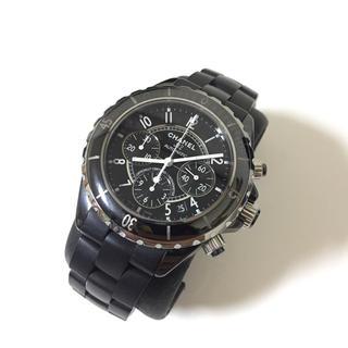 シャネル(CHANEL)のCHANEL シャネル J12 クロノグラフ 腕時計 黒(腕時計(アナログ))