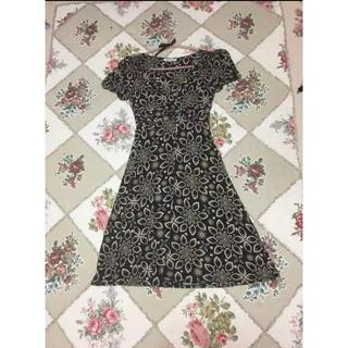 ローラアシュレイ(LAURA ASHLEY)のローラアシュレイ ジャージ素材バルーン袖フレアーワンピUK12⭐️美品⭐️(ひざ丈ワンピース)
