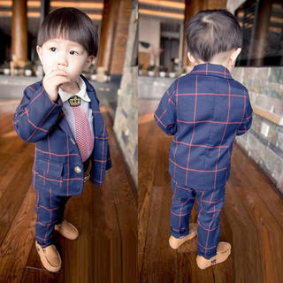 【インスタで話題♪】キッズ チェック柄 フォーマル スーツ qa08(ドレス/フォーマル)