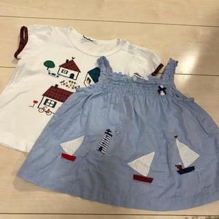 ファミリア(familiar)のファミリア 半袖 Tシャツ チュニック 90 おうち チェック(Tシャツ/カットソー)