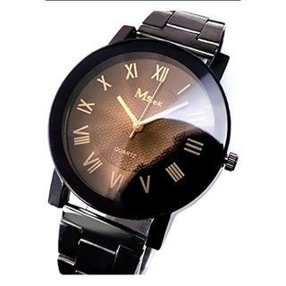 腕時計 ビッグフェイス ブラック×ブラウン ローマ数字 tvs237(腕時計(アナログ))