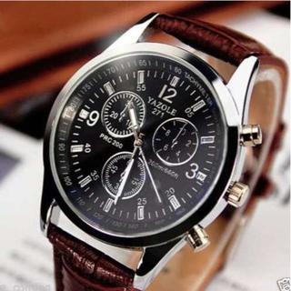 TA261 送料無料♪クロノグラフ風 クロコレザーウォッチ 茶(腕時計(アナログ))