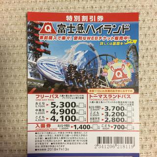 富士急ハイランド 割引券(遊園地/テーマパーク)