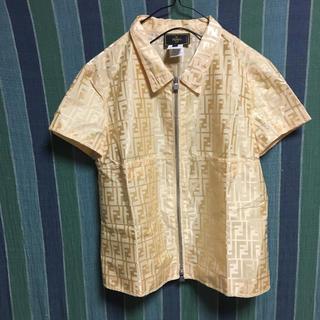 フェンディ(FENDI)の【FENDI】ズッカ柄 半袖ジップナイロンシャツ 42(シャツ/ブラウス(半袖/袖なし))