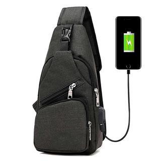 ショルダーバッグ メンズ レディース USBポート付き【ブラック】(ショルダーバッグ)