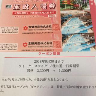 ハワイアンズ 今月期限 2枚 スライダー1000円割引バイキング飲食10%割引付(遊園地/テーマパーク)
