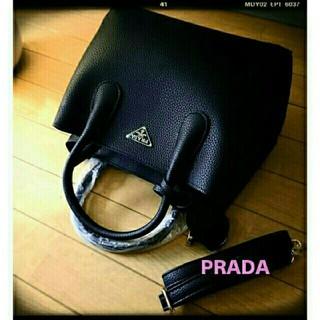 プラダ(PRADA)のPRADA型押しシュリンクレザー❤黒2wayショルダー/新品(ショルダーバッグ)