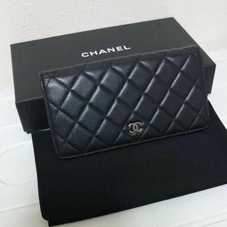 CHANEL - 美品♡シャネル マトラッセ ラムレザー 二つ折り財布 ブラック 正規品