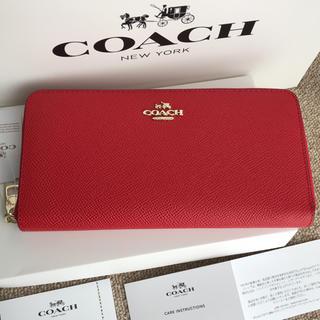 COACH - コーチ 長財布 COACH ラウンドファスナー レッド
