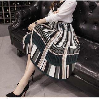 【韓国ブランド】 プリーツスカート(ひざ丈スカート)