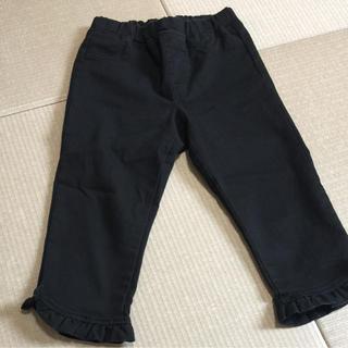 GU - GU*7分丈パンツ*フリル*リボン*ブラック*120cm