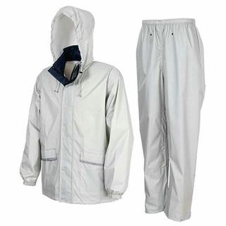 軽量・透湿 レインスーツ LLサイズ シルバー カッパ 上下(レインコート)