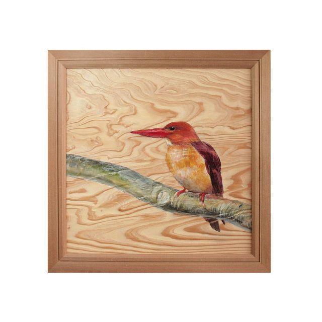 Original(オリジナル)の根杢浮作り絵画  「白神の四季:アカショウビン」 ハンドメイドのインテリア/家具(アート/写真)の商品写真