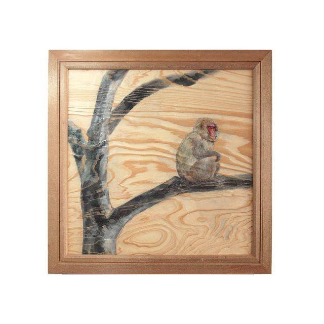 Original(オリジナル)の根杢浮作り絵画 「白神の四季:サル」 ハンドメイドのインテリア/家具(アート/写真)の商品写真