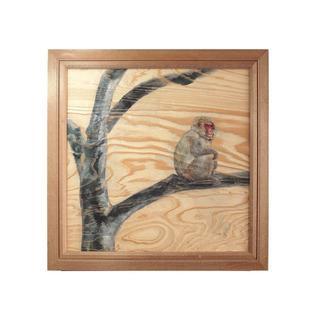 オリジナル(Original)の根杢浮作り絵画 「白神の四季:サル」(アート/写真)