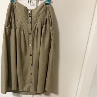 ネイビーナチュラル(navy natural)のネイビーナチュラル  くるみボタンスカート(ひざ丈スカート)
