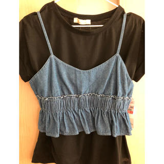 シマムラ(しまむら)のTシャツ 重ね着デニムキャミ付き(Tシャツ(半袖/袖なし))