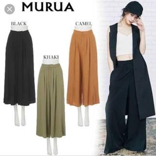 ムルーア(MURUA)のMURUA easyワイドパンツ  黒ブラック(その他)