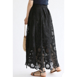 IENA - IENA レース巻きスカート ブラック