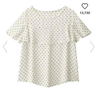 ジーユー(GU)のGU/ジーユー  ドットフリルブラウス ホワイト 白 S(シャツ/ブラウス(半袖/袖なし))