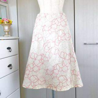 シビラ(Sybilla)のシビラ 立体スクエアコード刺繍リネン混フレアスカート(ひざ丈スカート)