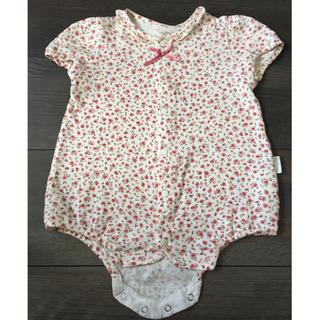 赤ちゃんの城 小花柄ロンパース 80cm オーガニックコットン(ロンパース)