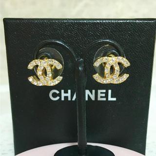 シャネル(CHANEL)の正規品 シャネル ピアス ゴールド ココマーク ラインストーン 金 石 ロゴ(ピアス)