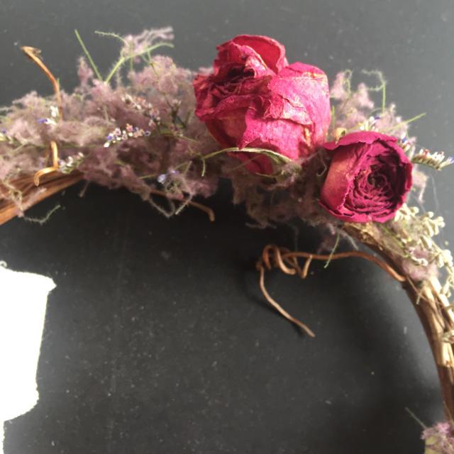 送料込み!!大人なピンクのミドルリース ドライフラワー ハンドメイドのフラワー/ガーデン(リース)の商品写真