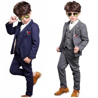 【超人気♪】3点セット キッズ フォーマル スーツ qa11(ドレス/フォーマル)