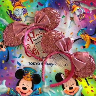 ディズニー(Disney)の新品タグ付☆ ペア カチューシャ ピンク スパンコール ディズニーリゾート(カチューシャ)