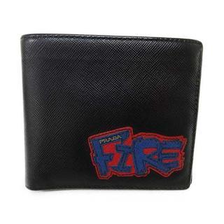 プラダ(PRADA)のプラダ PRADA 財布 2M0513 二つ折札入れ 黒 FIRE カード有(財布)
