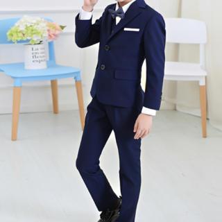 男の子フォーマル礼服5点セット入学式発表会演奏会ブルー(ドレス/フォーマル)