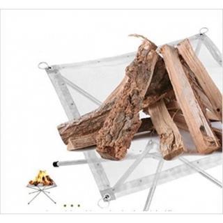 ステンレス 焚火台 ファイアスタンド 簡単組立 メッシュシート(調理器具)