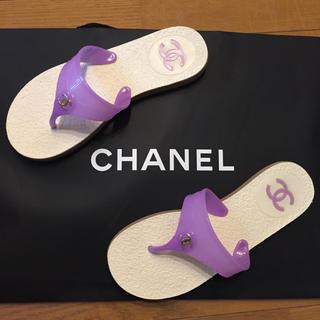 CHANEL - CHANEL 2012 美品ビーチサンダル パープルカラー