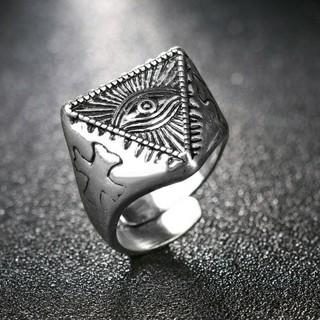 ♣プロビデンスの目 テンプル騎士団(クロス)フリーメイソン フリーサイズリング(リング(指輪))