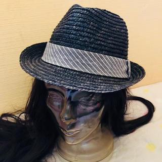 GU ブラック 麦わら帽子 グレーストライプ(麦わら帽子/ストローハット)