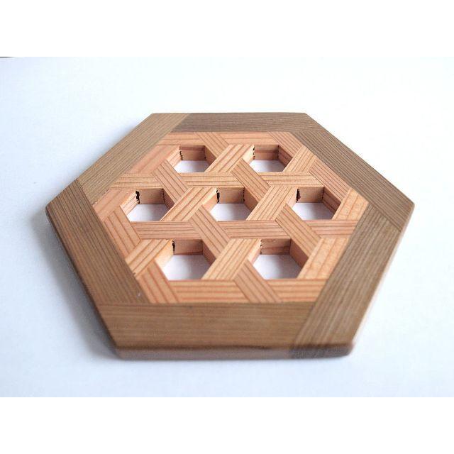 Original(オリジナル)の組子コースター:六角組子 ハンドメイドのインテリア/家具(インテリア雑貨)の商品写真